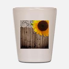 rustic barn yellow sunflower Shot Glass