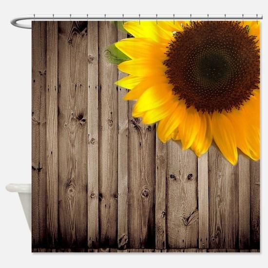 rustic barn yellow sunflower Shower Curtain