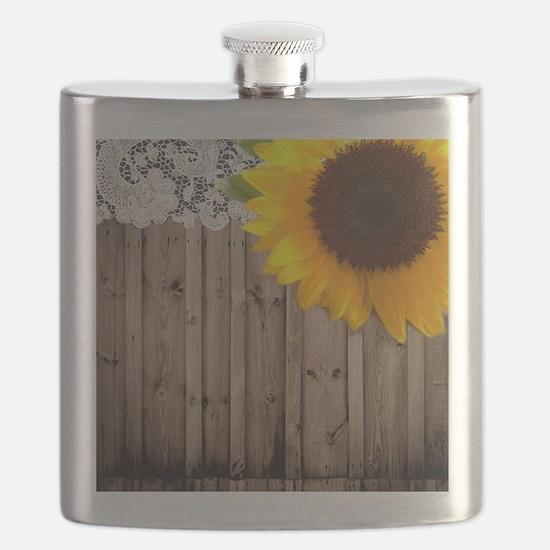 rustic barn yellow sunflower Flask