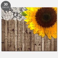 rustic barn yellow sunflower Puzzle
