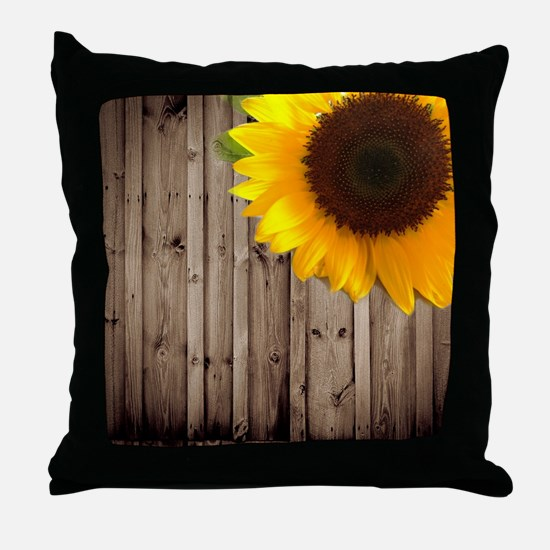 rustic barn yellow sunflower Throw Pillow