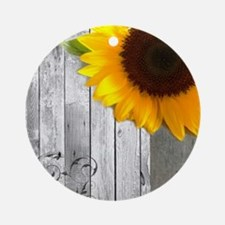 sunflower primitive barn board Round Ornament