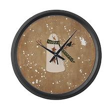 Primitive Snowman Large Wall Clock