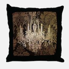 steampunk damask vintage chandelier Throw Pillow
