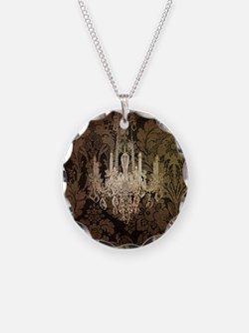 steampunk damask vintage cha Necklace