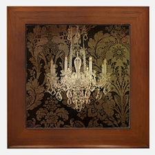 steampunk damask vintage chandelier Framed Tile
