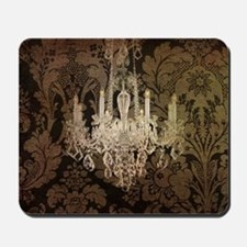 steampunk damask vintage chandelier Mousepad