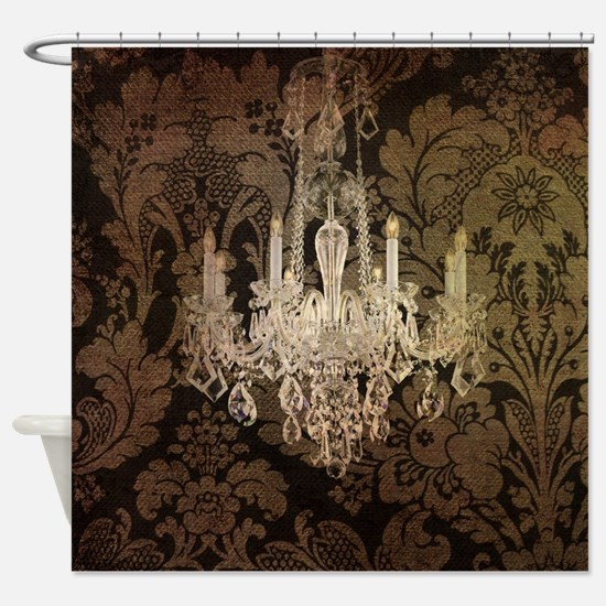 steampunk damask vintage chandelier Shower Curtain
