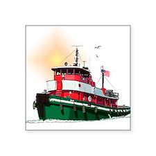 """Cute Tugboat Square Sticker 3"""" x 3"""""""