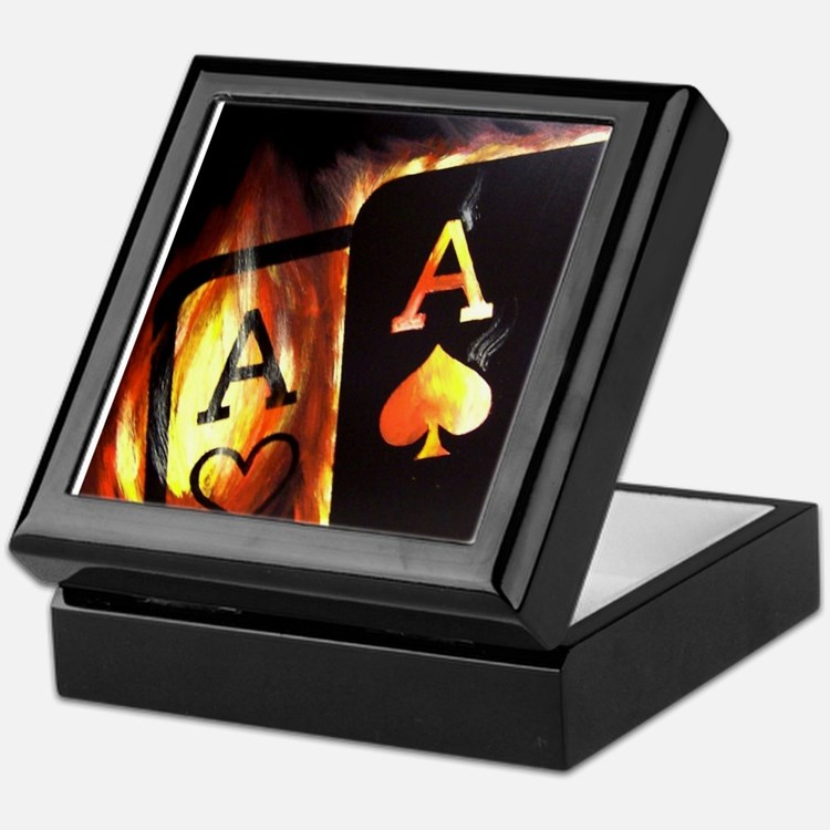 FLAMING POCKET ACES BULLETS POKER ROCKETS Tile Box