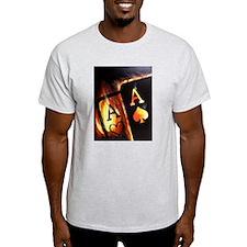 FLAMING POCKET ACES BULLETS POKER ROCKETS T-Shirt