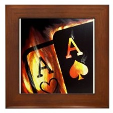 FLAMING POCKET ACES BULLETS POKER ROCKETS Framed T