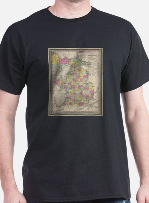 Vintage Map of Michigan (1853) T-Shirt
