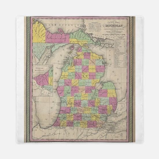Vintage Map of Michigan (1853) Queen Duvet