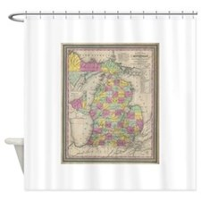 Vintage Map of Michigan (1853) Shower Curtain