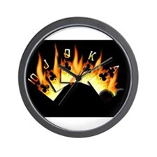 FLAMING ROYAL FLUSH POKER ART Wall Clock