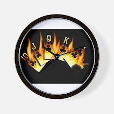 FLAMING ROYAL FLUSH POKER ART Wall Clock