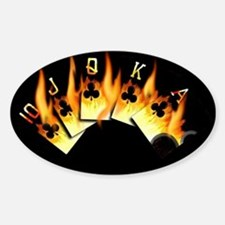 FLAMING ROYAL FLUSH POKER ART Oval Decal