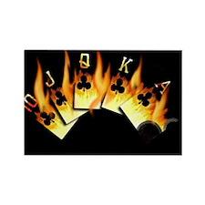 FLAMING ROYAL FLUSH POKER ART Rectangle Magnet