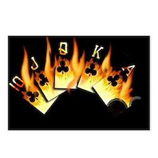 FLAMING ROYAL FLUSH POKER ART Postcards (Package o