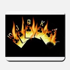FLAMING ROYAL FLUSH POKER ART Mousepad