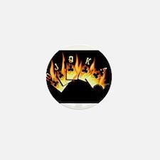 FLAMING ROYAL FLUSH POKER ART Mini Button