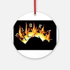 FLAMING ROYAL FLUSH POKER ART Ornament (Round)