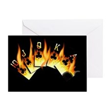 FLAMING ROYAL FLUSH POKER ART Greeting Card