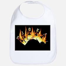 FLAMING ROYAL FLUSH POKER ART Bib