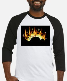 FLAMING ROYAL FLUSH POKER ART Baseball Jersey