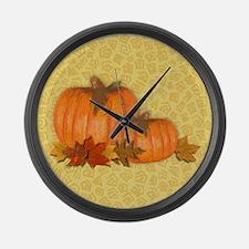 Fall Pumpkins Large Wall Clock