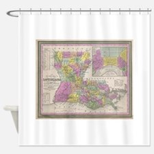 Vintage Map of Louisiana (1853) Shower Curtain