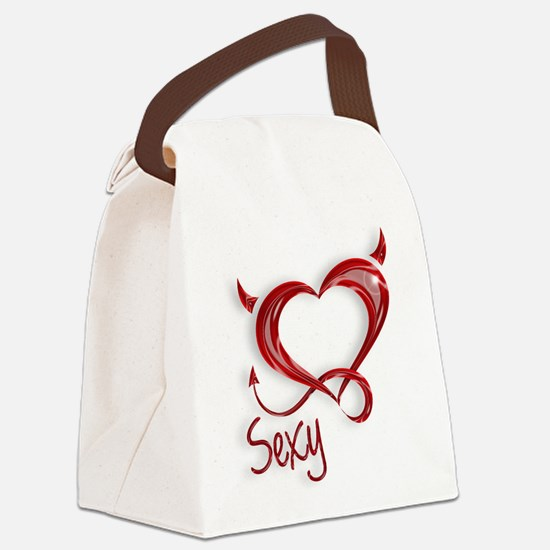 Sexy Devil Heart Canvas Lunch Bag