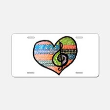 Colorful Doodled Heart with Aluminum License Plate