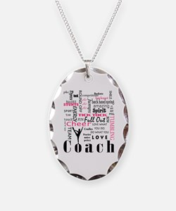 Funny Cheerleader coach Necklace Oval Charm