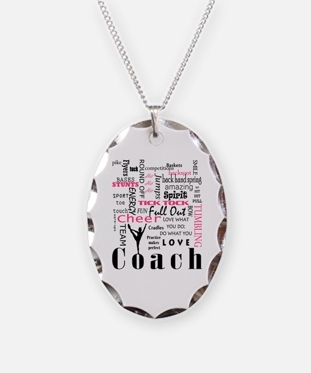 Cute Cheerleader coach Necklace Oval Charm