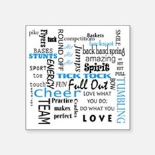 "Cute Cheerleader Square Sticker 3"" x 3"""