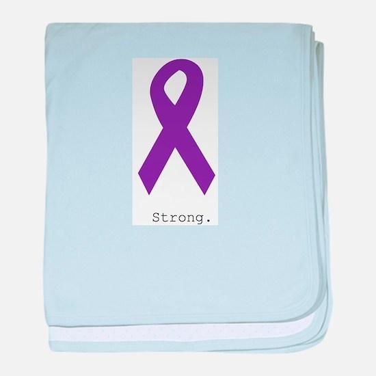 Strong. Purple Ribbon baby blanket