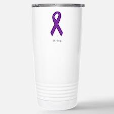 Strong. Purple Ribbon Stainless Steel Travel Mug