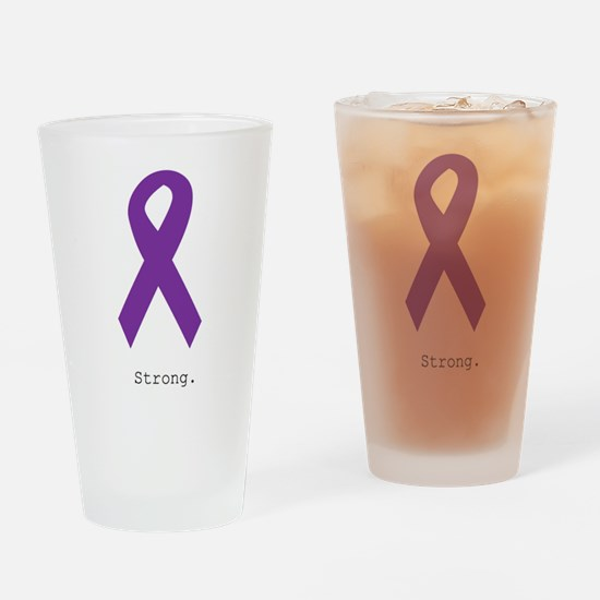 Strong. Purple Ribbon Drinking Glass