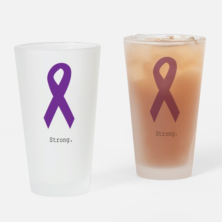Strong. Purple Ribbon Drinking Glass