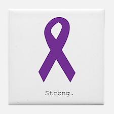 Strong. Purple Ribbon Tile Coaster