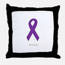 Strong. Purple Ribbon Throw Pillow