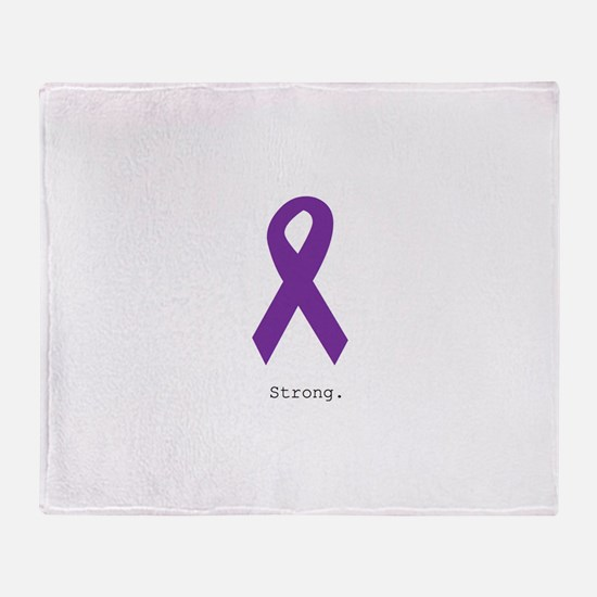 Strong. Purple Ribbon Throw Blanket