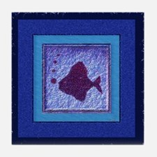 Deep Blue Fish Tile Coaster