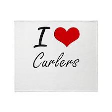 I love Curlers Throw Blanket