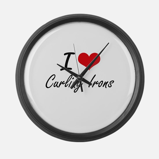 I love Curling Irons Large Wall Clock