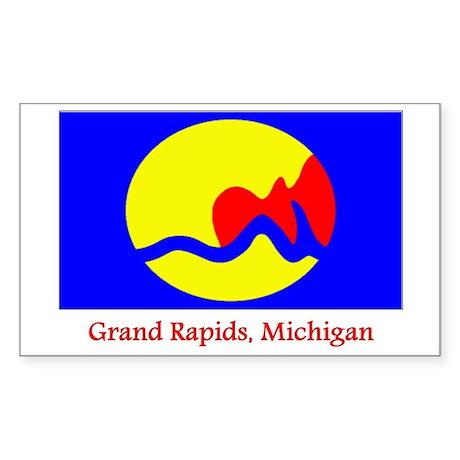 Grand Rapids MI Flag Rectangle Sticker