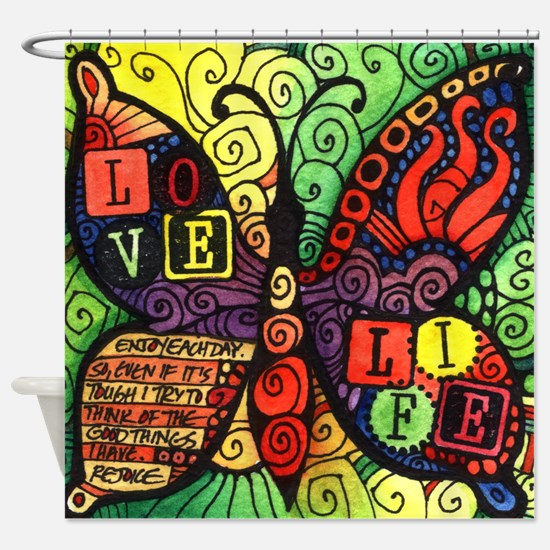 Love Life Inspirational Quote Shower Curtain