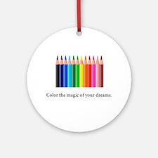 Color The Magic Rainbow Pencil Gifts Round Ornamen